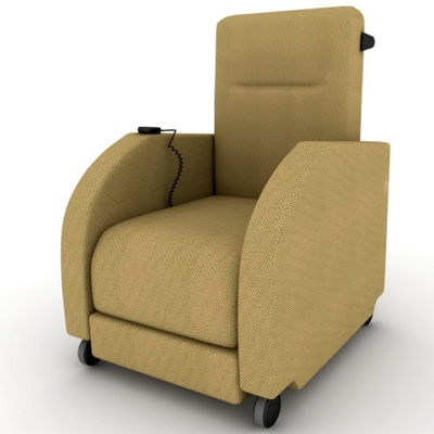 Motor Assist Fabric Patient Recliner with Black Finish Push Bar