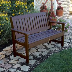 """Outdoor Vertical Slat Synthetic Wood Bench- 60""""W"""