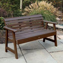 """Outdoor Horizontal Slat Synthetic Wood Bench 48""""W"""