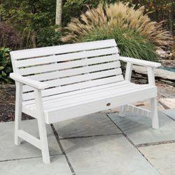 """Outdoor Horizontal Slat Synthetic Wood Bench 60""""W"""