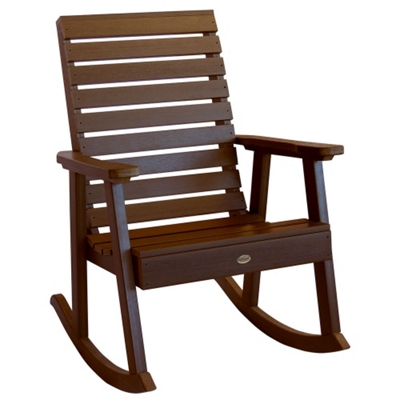 Outdoor Horizontal Slat Synthetic Wood Rocking Chair