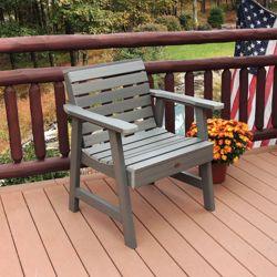 Outdoor Horizontal Slat Synthetic Wood Garden Chair