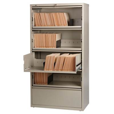 "36""W Five Drawer Roll Out Binder Lateral File with Drawer Dividers"