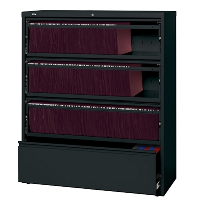 """42""""W Four Drawer Roll Out Binder Lateral File with Drawer Dividers"""