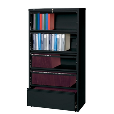 "42""W Five Drawer Roll Out Binder Lateral File"