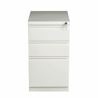 "Three Drawer Mobile Pedestal in White - 20""D"