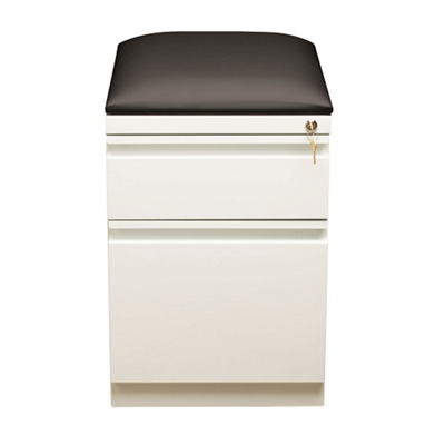 "Two Drawer Mobile Pedestal with Cushion in White - 20""D"