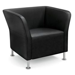 HON Flock Leather Square Lounge Chair
