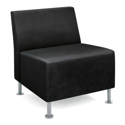 HON Flock Leather Armless Guest Chair