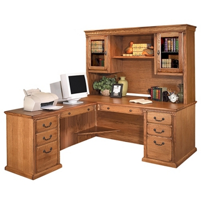 "Wheat Oak L-Desk with Left Return and Hutch - 69""W"