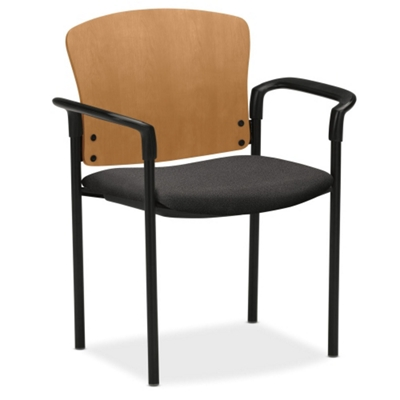 HON Pagoda Wood Back Stack Chair with Arms
