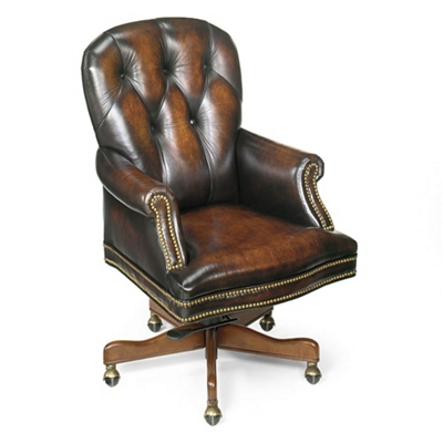 Button Tufted Executive Chair in Leather