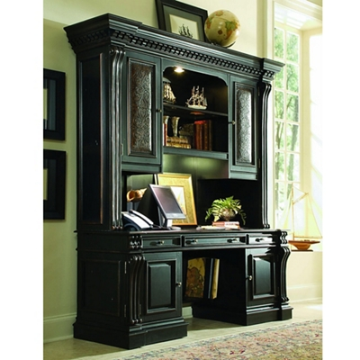 """Traditional Leather Inlay Credenza and Hutch - 71.25""""W x 24.5""""D"""