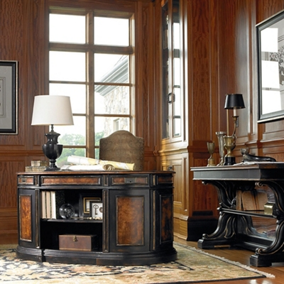 "Traditional Executive Desk with Bookcase Back and Leather Inlay Top - 60""W"
