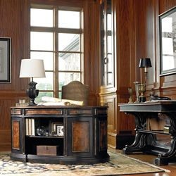 """Traditional Executive Desk with Bookcase Back and Leather Inlay Top - 60""""W"""