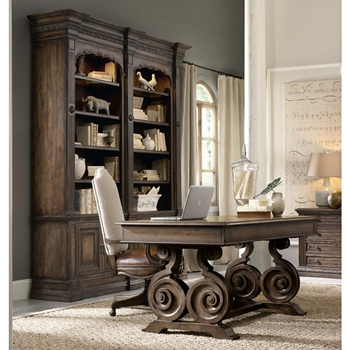 Rustic Writing Desk And Double Bookcase Small Office Set 86008 More Lifetime Guarantee