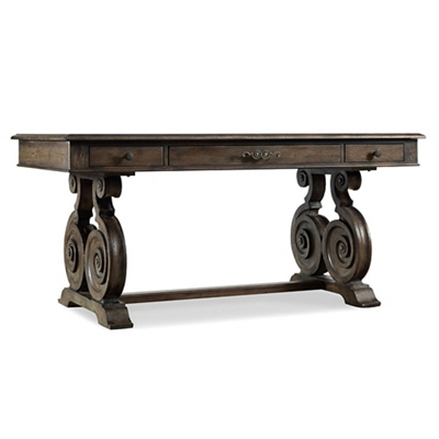 "Rustic Scroll Leg Writing Desk - 66""W x 34""D"