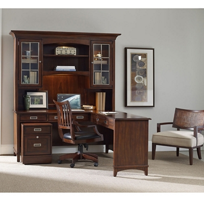 """Contemporary Reversible L Desk with Hutch and Mobile File - 66""""W x 76""""D"""