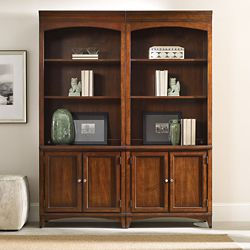 "80.5""H 6 Shelf Contemporary Double Bookcase Set"
