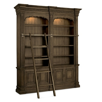 104 25 H Rustic Double Bookcase With Ladder And Rail