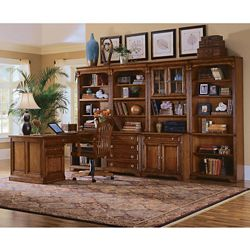 Traditional Peninsula Desk and Storage Wall Set