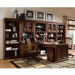 Traditional Partner Desk with Storage Wall