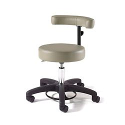 Physician Exam Stool with Crescent Back and Black Composite Base