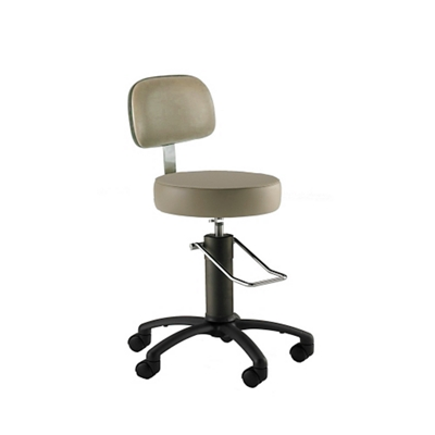Black Aluminum Base Surgical Stool with Rotation Lock and Backrest