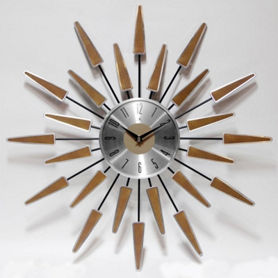 """Mid Century 22"""" Wood and Metal Wall Clock"""