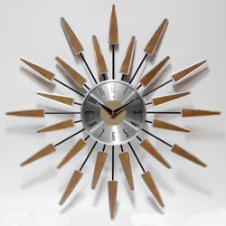 "Mid Century 22"" Wood and Metal Wall Clock"
