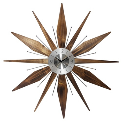 "Mid Century 30"" Wood and Metal Wall Clock"