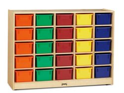 Children's 25 Cubby Unit with Colored Trays