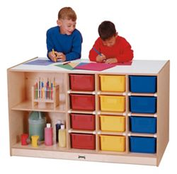 Children's Storage Island with Colored Trays