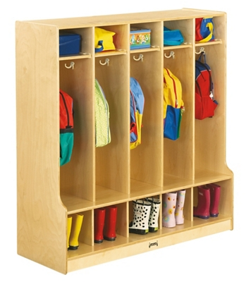 Children's 5 Section Coat Locker with Step