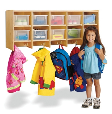Children's 5 Section Hanging Locker with Clear Trays