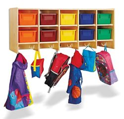 Children's 5 Section Hanging Locker with Colored Trays