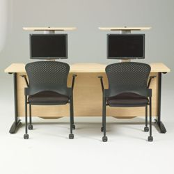 """60"""" Wide Desk with Dual Monitor Lifts"""