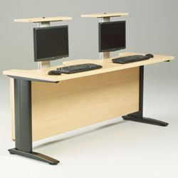 """72"""" Wide Desk with Dual Monitor Lifts"""
