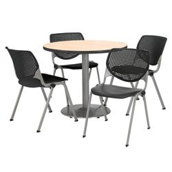 "Modern Round Pedestal Table and Chair Set - 42"" Diameter"