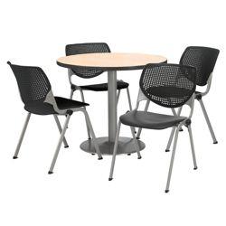 "Modern Round Pedestal Table and Chair Set - 42"" Diameter"