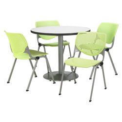 "Modern Round Pedestal Table and Chair Set - 36"" Diameter"