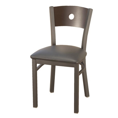 Cafe Chair with Vinyl Seat and Circular Cut-Out