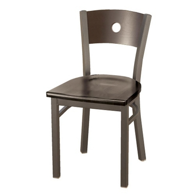 Wood Cafe Chair with Circular Cut-Out