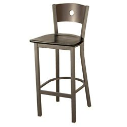Wood Barstool with Circular Cut-Out