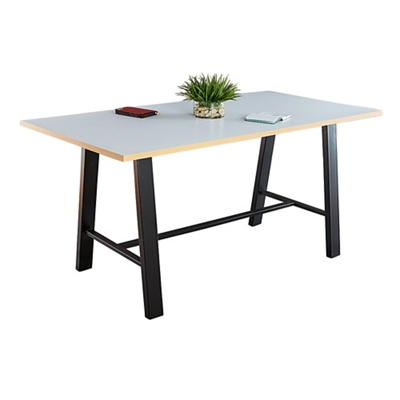 "Bayside Collaborative Standing Height Table with Plywood Edge 120""Wx42""D"