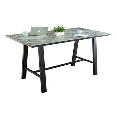 "Bayside Collaborative Standing Height Table with Black Edge 120""Wx42""D"