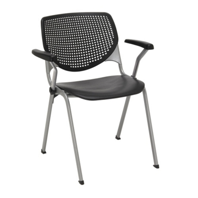 Perforated Back Poly Stack Chair with Arms - 400 lb. Capacity