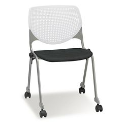 Figo Stack Chair with Fabric or Polyurethane Seat and Casters