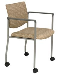 Mobile Upholstered Back Guest Chair with Arms