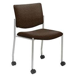 Mobile Armless Guest Chair in Fabric, Faux Leather or Polyurethane